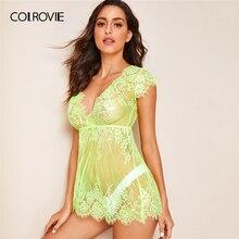 COLROVIE Neon Lime Floral Spitze Kleid Mit Tanga Frauen V Neck Solide Sheer Babydolls 2019 Sommer Sexy Nacht Kleid
