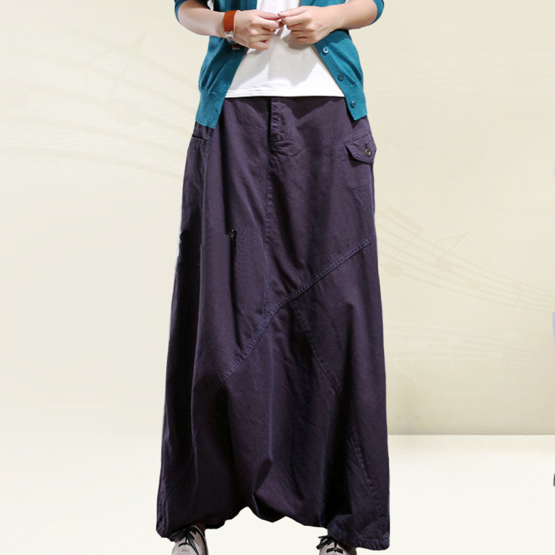 Women Hip Hop Streetwear Baggy Pants  Fluid Big Crotch Wide Leg  Bloomers Elastic Waist Harem Trousers Femme Pantalon YT001