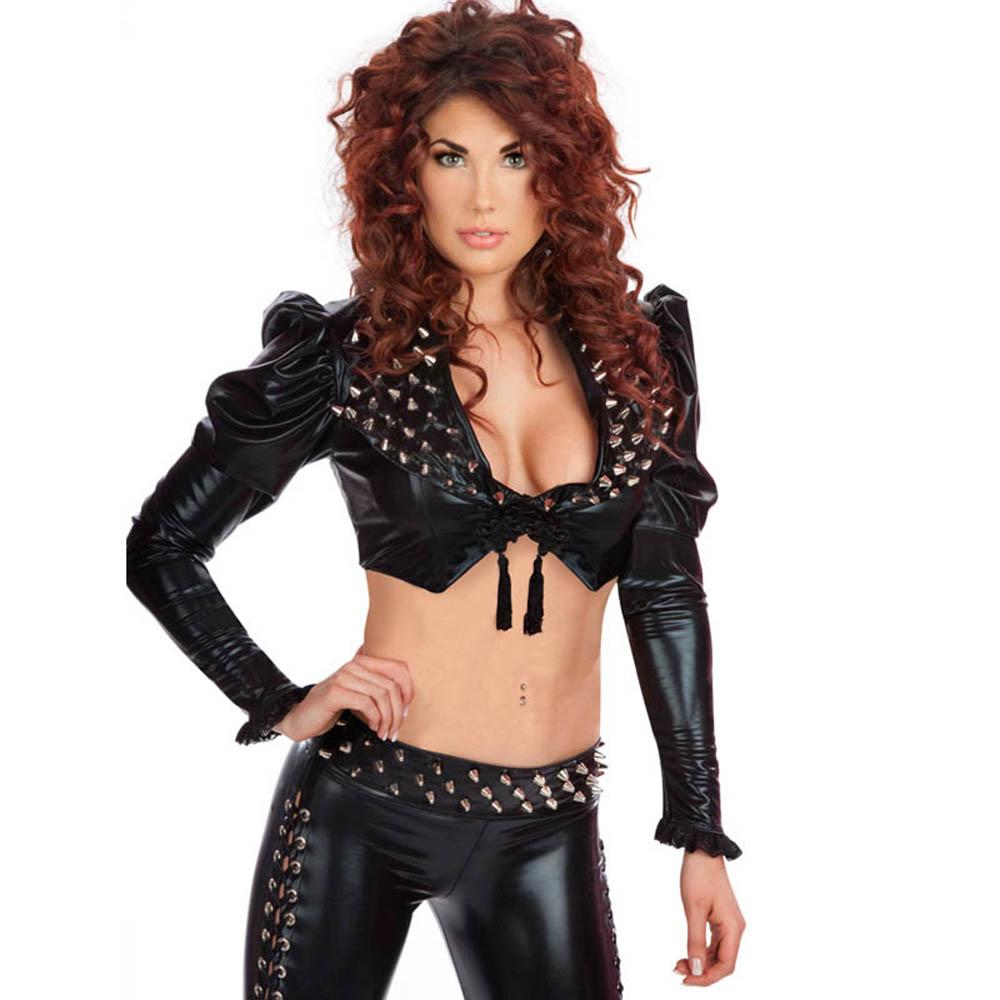 Femmes chaud noir Sexy Rivet dames à manches longues haut court 2 pièces vinyle ensembles vêtements de nuit extensible moulante fête porter lacets jusqu'à W850764