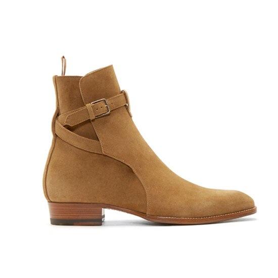 b15a07cb2 Handmade Kaeve Homme Chaussure Hiver Fivela Botas Chelsea Kanye West Sapatos  de Alta Homens Sapatos de Couro Martin Botas Botas de Motociclista Casuais  em ...