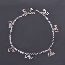 DIY Customize Stainless Steel Silver Plated LOVE Charms Anklets Lovers' Classic Summer Beach Foot Chains Jewelry Wholesale