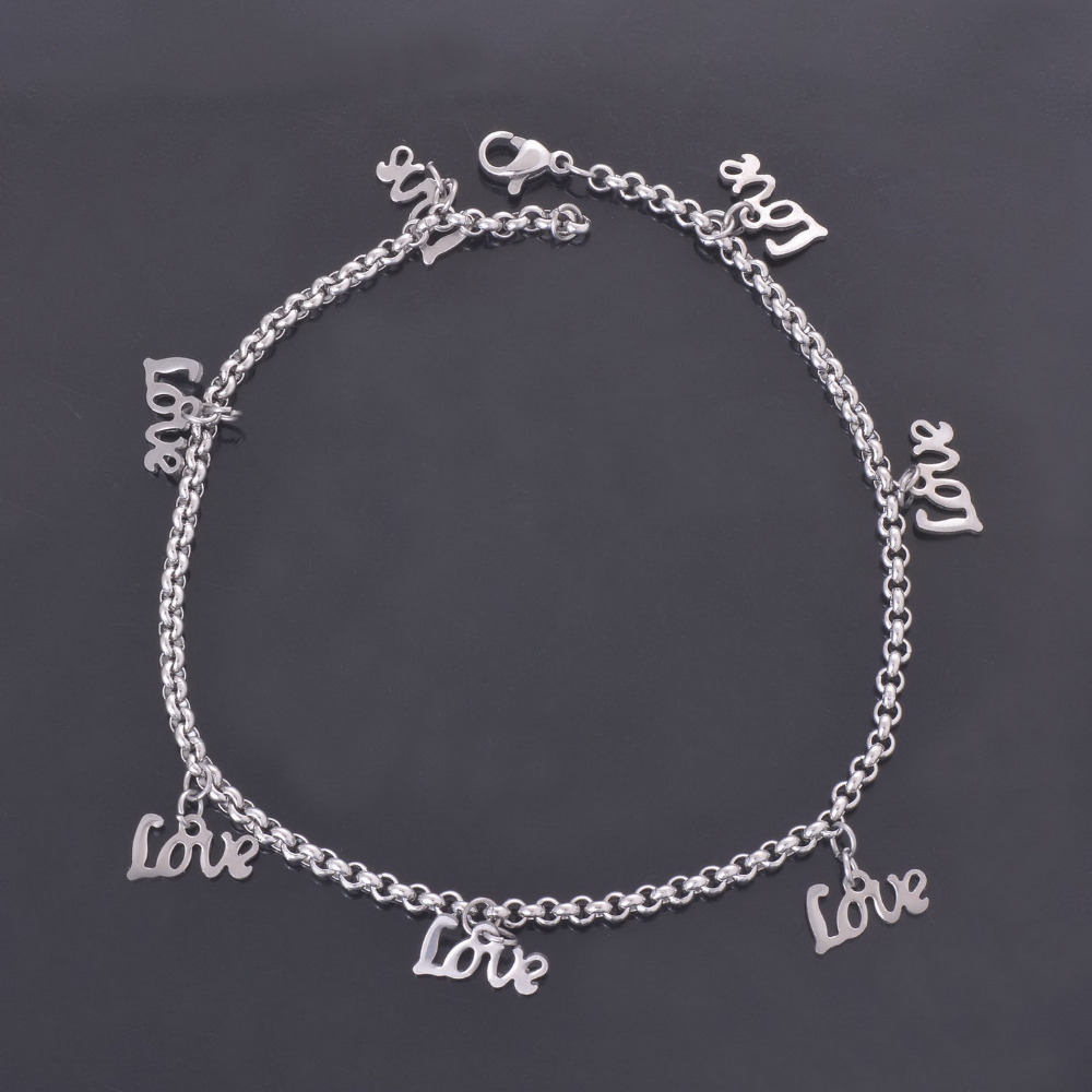 DIY Customize Stainless Steel Silver Plated LOVE Charms Anklets Lovers Classic Summer Beach Foot Chains Jewelry Wholesale