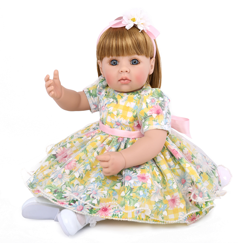 20inch Soft Silicone Reborn Baby Dolls Newborn Lifelike Fashion Girl Princess Doll Kids Playmates Sleeping Accompany Toy Gifts