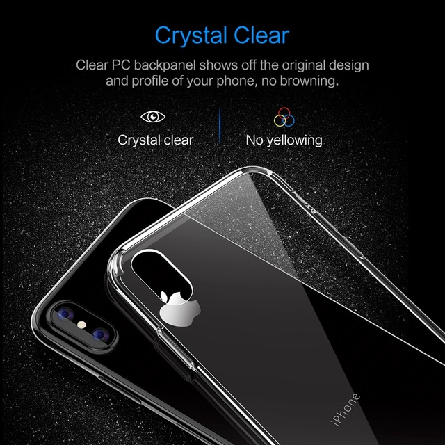 Pure Series for iPhone X Case, ROCK Hard Back case for iPhone X Crystal Clear Phone case for iPhoneX hard back with soft edge 4
