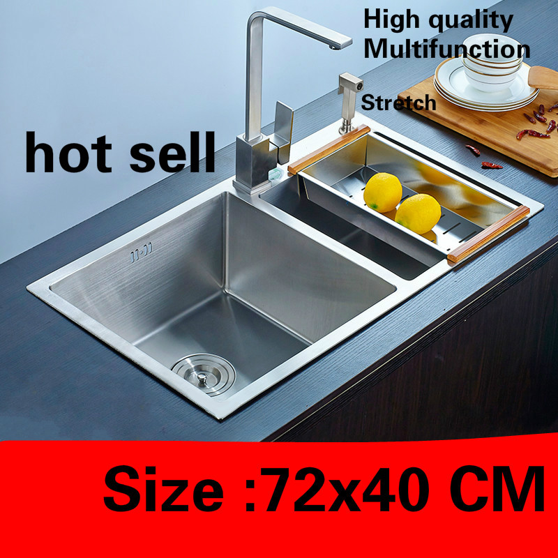 Free Shipping Apartment Vogue Kitchen Manual Sink Double Groove Do The Dishes Food Grade 304 Stainless Steel Hot Sell  72x40 CM