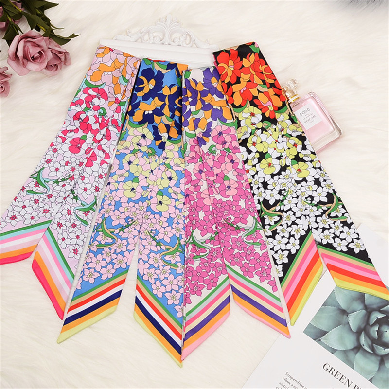 Women Silk   Scarf   Fashion Print Head   Scarves     Wraps   Luxury Brand Quality Female Small Handle Bag Ribbons Neck   Scarf   So Many Uses