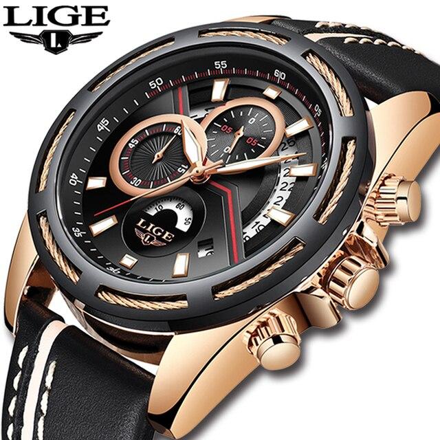 LIGE Mens Relógios Top Marca de Luxo Relogio Militar Esportes Relógio dos homens Casuais de Couro À Prova D' Água Relógio de Quartzo Relogio masculino