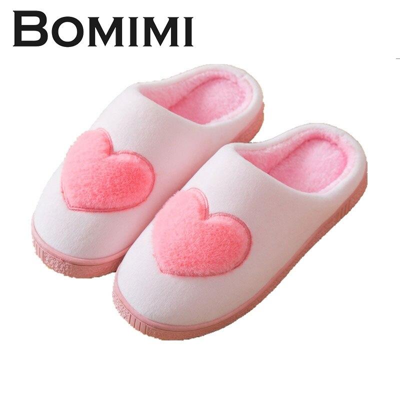 BOMIMI Women Heart Slippers Winter Warm Ful Slippers Women Slippers Cotton Sheep Lovers Home Slippers Indoor Ladies Flip Flop