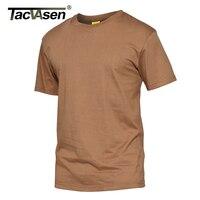 TACVASEN Men Summer Tactical T Shirt Military Short Sleeve Cotton T Shirt Men Casual Camouflage Army