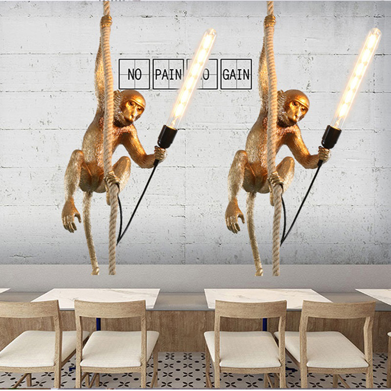 Modern Resin Monkey Loft Vintage Hemp Rope Pendant Light for Home dining room Bar Cafe Retro Hanging Lighting lamp american edison loft style rope retro pendant light fixtures for dining room iron hanging lamp vintage industrial lighting