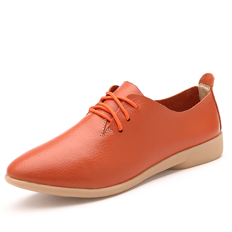 3fb3d8ee70 O16U Spring Oxfords Women Flats Shoes Genuine leather pointed toe moccasins  ballerina Flat Lace up Ladies casual Soft Ballet-in Women's Flats from Shoes  on ...