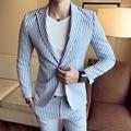 2017 Envmenst Brand Designed Striped Suits Blazer+Shorts 2 Sets Cotton Casual Single Button Fashion Slim Fit Jacket Men Wedding