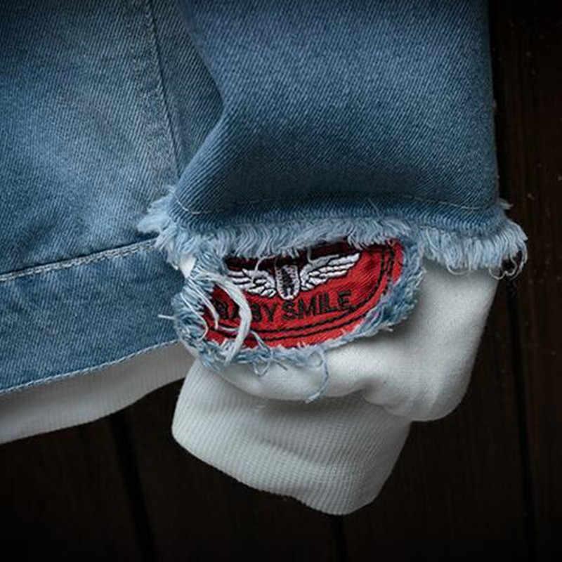 3XL 2019 Осенняя новая джинсовая куртка с капюшоном Мужская модная поддельная двойка уличная куртка-бомбер и пальто мужская Ковбойская одежда
