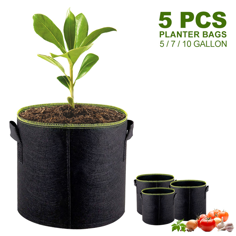 Us 17 21 50 Off 7 Gallon Black Felt Strawberry Grow Bags Home Garden Plants Vegetable Flowers Planting Growing Bag Potato Pots Planters In