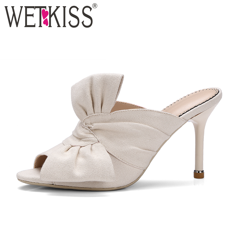WETKISS New Arrival Designer Shoes Woman Sexy Peep toe Bow Slippers Women Summer Thin High Heels Mules Party Shoes wetkiss brand genuine leather mules fashion summer shoes leisure sewing thick high heels shoes sexy open toe woman slippers