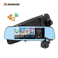 TOPSOURCE 7 4G Car Mirror Camera DVR GPS Bluetooth Dual Lens Rearview Mirror Video Recorder Full HD 1080P Automobile Dash cam