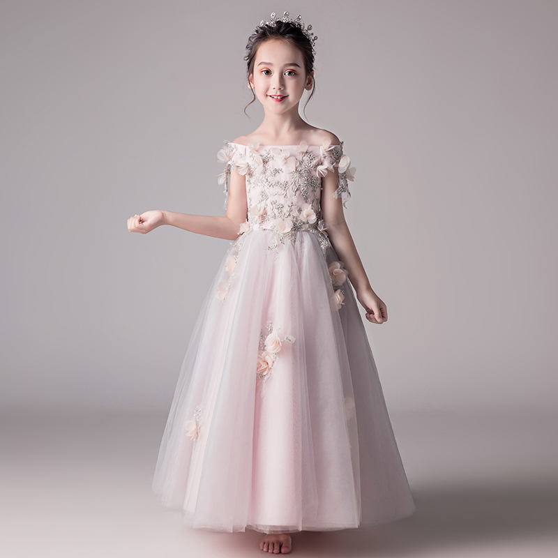 1a1853878d97a 2019 new lace sequins formal evening wedding gown princess dress flower  girls children clothing kids party for girl clothes