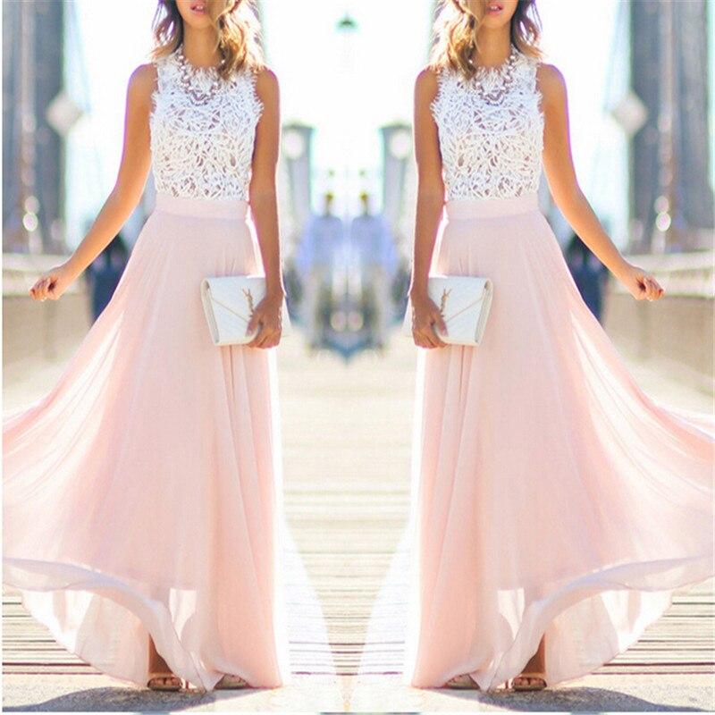 summer fashion women long lace chiffon pink beach dress