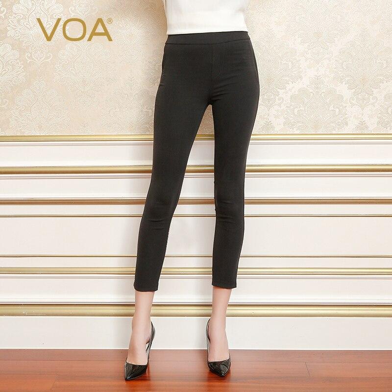 VOA Heavy Silk Black Pencil Pants Women Comfort Bottoming Leggings Long Trousers Basic Mid Waist Casual Slim Spring K5567