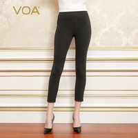 VOA Heavy Silk Black Pencil Pants Women Comfort Bottoming Leggings Long Trousers Basic Mid Waist Casual Slim Spring K5567