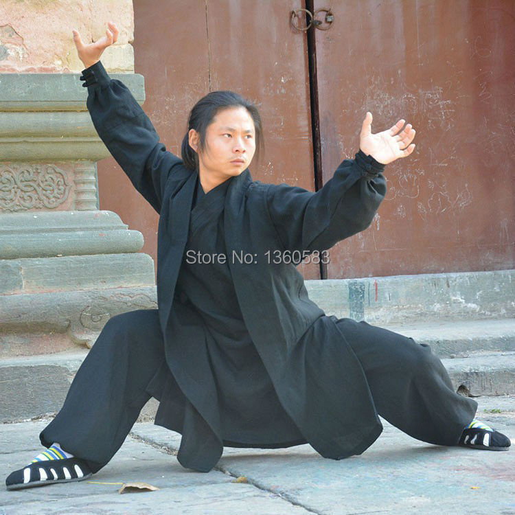 Kung fu Customize 4 Colors Tai chi Uniform Wudang Taoist Robe Shaolin Monk Suit Wushu Martial arts Clothes Taoist priest  KF2016 master recommend movement triangle frame wing chun wooden dummy donnie ye used standard kung fu wooden dummy martial arts