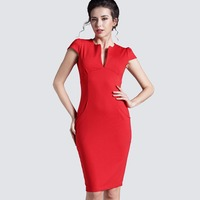 Free Shipping Sexy Womens Deep V Neck Bodycon Business Slim Party Pencil Dress