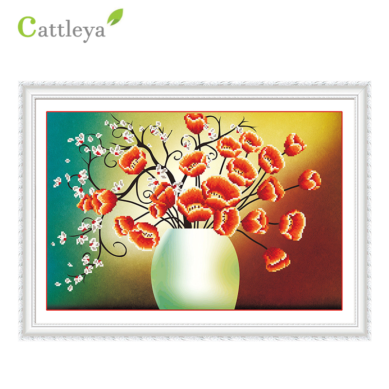 CATTLEYA5d diamond painting red flower red flower and beautiful diamond inlaid living room bedroom adornment to draw unique gift