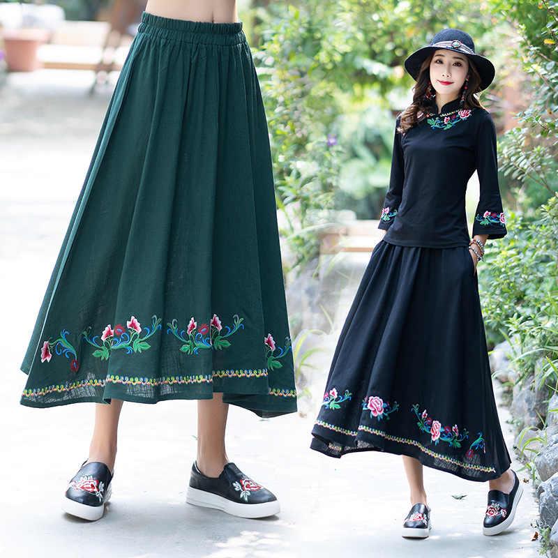 4edf0ec6e8 KYQIAO faldas mujer moda women ethnic skirt female autumn Mexico style  original design long black green