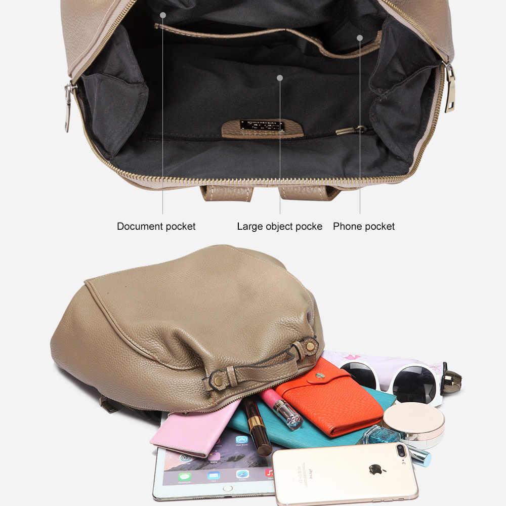 Zency большой емкости женский рюкзак первый слой коровья кожа Женская дорожная сумка Школьный рюкзак для девочек модный ранец неправильный