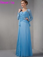 Blue A Line Long Floor Length Chiffon Mother Of Bride Dresses With Jackets Pleats Beaded Bride
