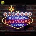 Maior Bem-vindo a Las Vegas Sinal de Néon Urso Artesanais Neon lâmpadas Tubo De Vidro Personalizado Lâmpada Lâmpada de Néon Resistor Lanterna VD 24X20