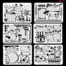 6 шт./компл. Детские Пластик картина тема рисунок шаблонные линейки ручной DIY с бесплатной доставкой Трафареты Декор Канцелярские Инструменты подарки для детей