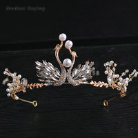 Elegant Gold Crystal Wedding Tiaras 2018 with Pearls Head Crowns Bridal Hair Jewelry Wedding Accessories Ballet Swan Headpiece