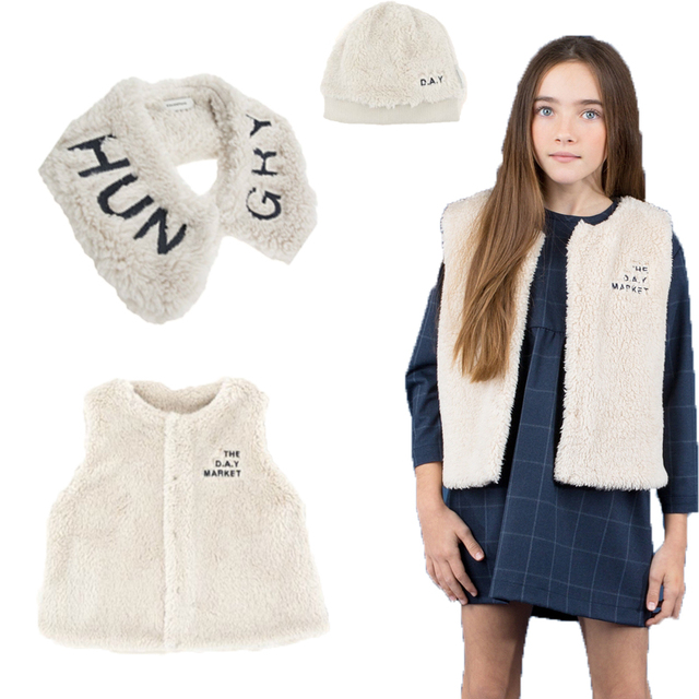 Kids Vest 2018 Tiny Cottons Autumn Winter Sleeveless Fur Jacket+surround  Collar+hat Baby Children Warm Outwear Vest Tops Clothes 380495471da