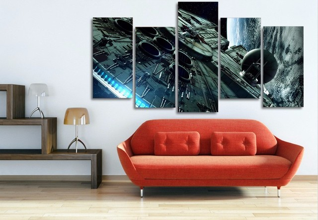 9b7f9cef88f 5 panel large HD printed canvas print millennium falcon star wars poster  painting home decor wall art pictures for living room
