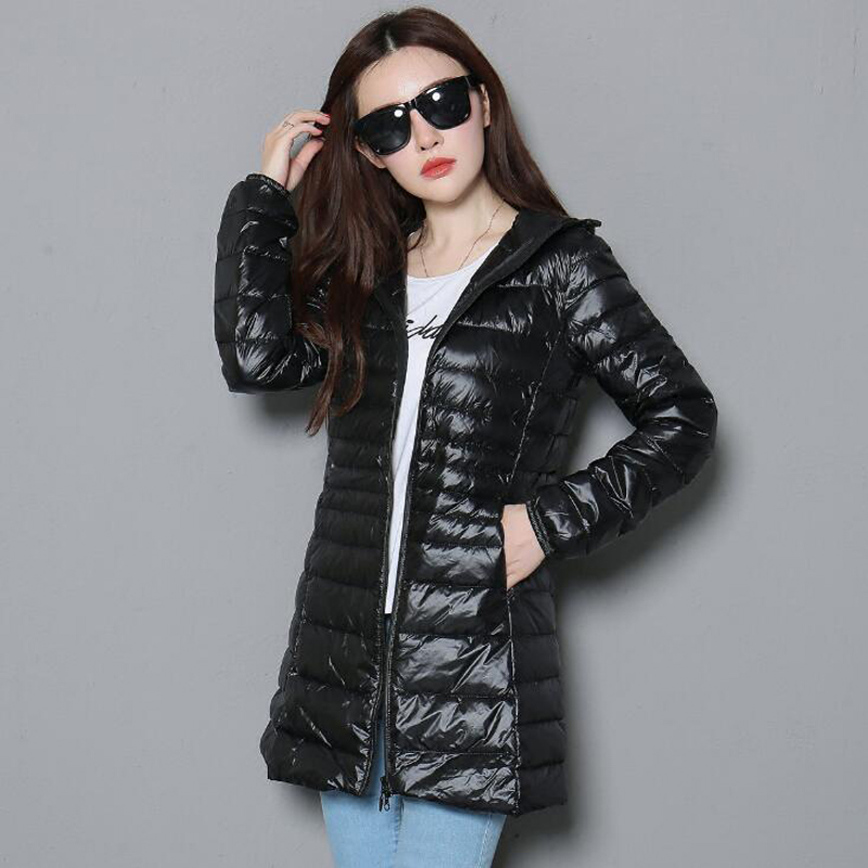 2018 plus size 5XL Woman Slim Hooded   Down   Jacket Woman Warm   Down     Coat   Women Ultra Light 90% White Duck long   Down   Jacket RE0789
