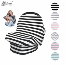 New Baby Car Seat Cover Canopy with Hat Nursing Cover Multi-Use Stretchy Infinity Scarf Breastfeeding Cover Shopping Cart Cover