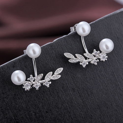 Charming Anniversary Jewelry Good Lovely Girl Trendy 925 Sterling Silver Leaf Shape Pearl Dangle Earrings For Women