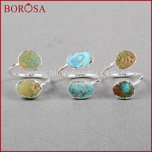 Image 2 - BOROSA 5/10 adet Vintage % 100% doğal mavi taş yüzük, gümüş renk doğal Turquoises yüzük ayarlanabilir yüzük Druzy takı S0183