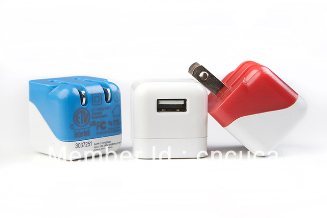 T20682a Free Shipping Colorful USB Wall Charger Phone Charger with UL/FCC Certificate available color White/Orange/Black/Blue
