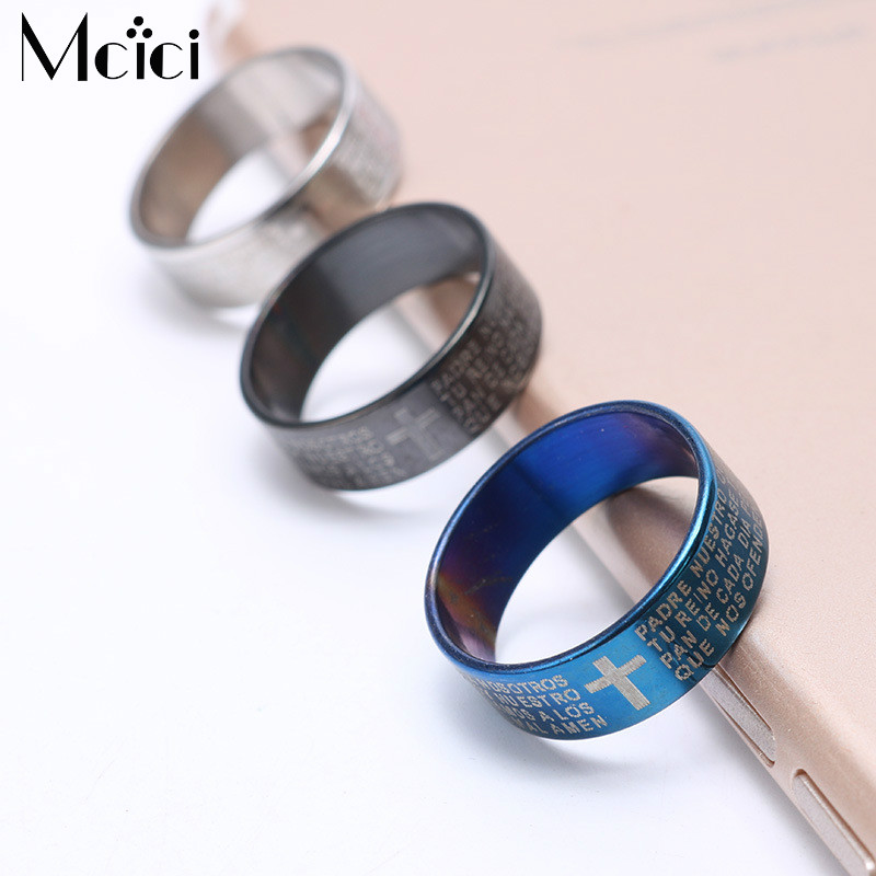 2pcs/lot Stainlses Steel Couple Cross Prayer Ring Black Letter Bible Ring Men Blue Cross Finger Rings for Women Wedding Bands