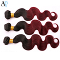 Ombre Burgundy Brazilian Virgin Hair With Closure Body Wave Ombre Natural Color Burgundy 99J 4 Pcs Wet And Wavy Brazilian Hair
