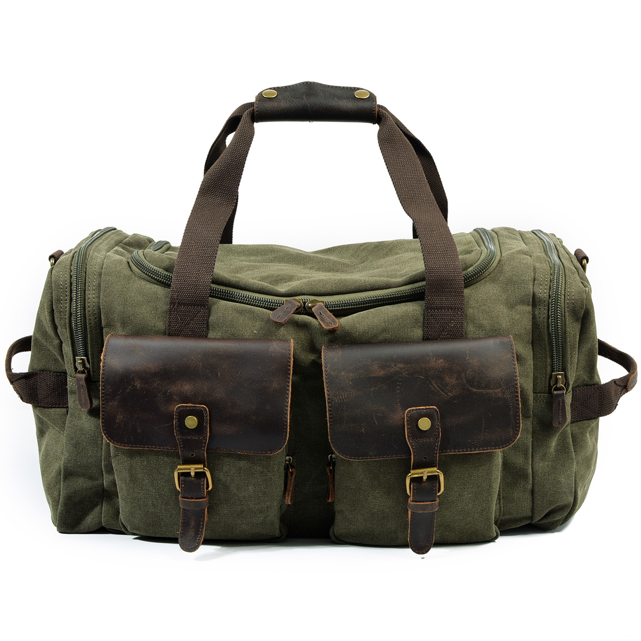 Man Vintage Military Travel Duffel Bag Multi pocket Canvas Overnight Bag  Leather Weekend Carry on Big Shoulder Bags Tote Luggage-in Travel Bags from  Luggage ... 6f7ada78c5168