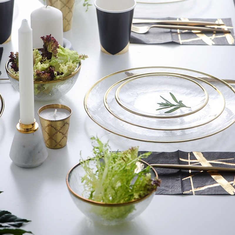 Western Salad Dishes: Gilt Glass Scandinavian Dishes Western Dishes Steak Plates