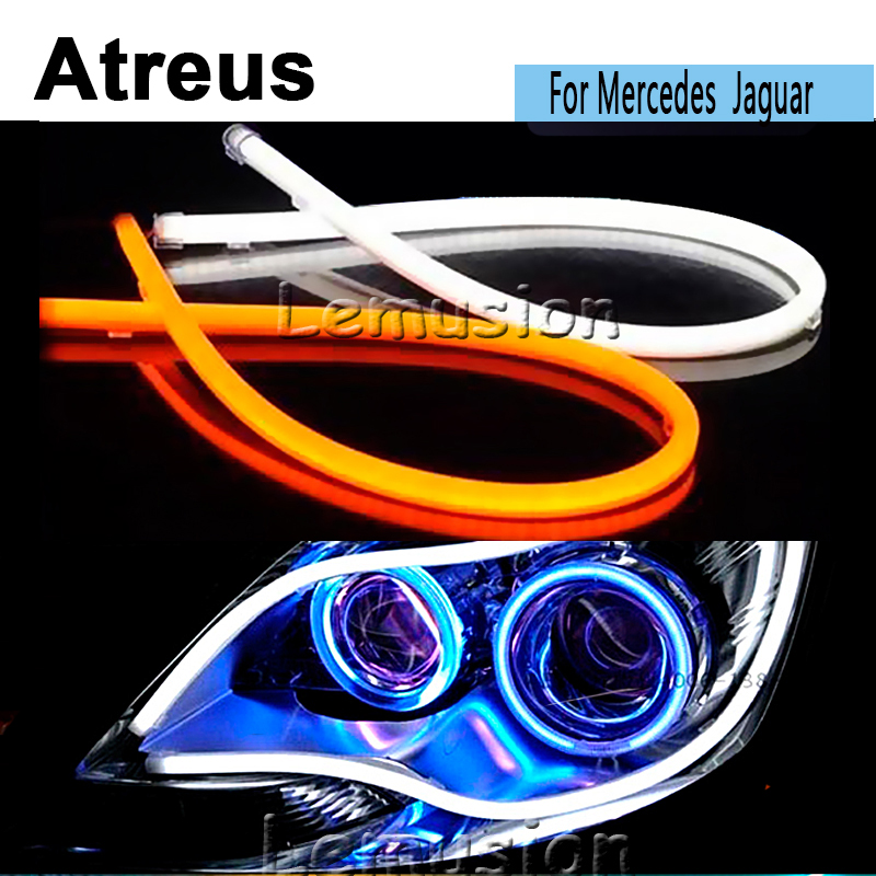 Atreus60cm Flexible Car LED DRL lamp daytime running Lights 12V For Mercedes W203 W211 W204 W210 AMG Jaguar XE XF XJ accessories