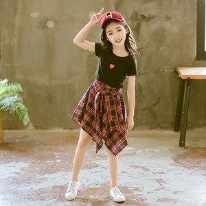 Image 4 - ファッション十代の服の服2019夏ソフト綿tシャツ格子縞のスカートショーツ子供服スーツ2個子供セット
