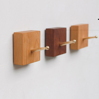 Collalily Nordic Wooden Wood Modern Design Wall Clothes Robe Hook Coat Racks For Corridor Hook Rails