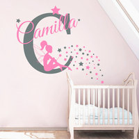 Custom Name Wall Decals Fairy Decal Nursery Baby Girl Room Bedroom Decor Stickers Personalzied Star Vinyl