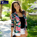 Women Floral Jacket 2016 New fashion Women Jacket Ladies Stylish Floral Printed Casual One Button Slim Suit Coat Outwear