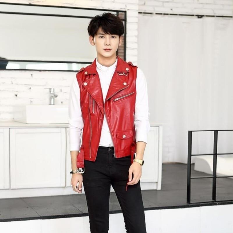 Haut à la mode tout nouveau hommes vestes en cuir d'été pour homme Slim Fit moto Punk gilet manteaux décontractés taille M-2XL blanc - 3